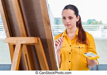 cuadros, dibujo, estudio, estudiante, artista, joven