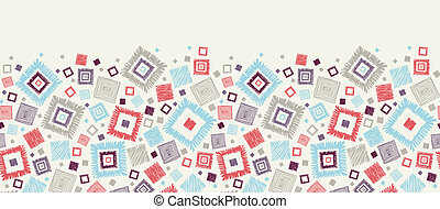 Cuadros geométricos textuales, frontera horizontal sin costura