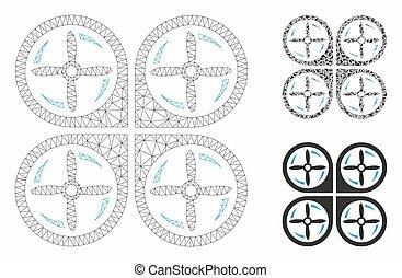 Cuadrotor tornillos vector rotación vector mala modelo 2D y icono mosaico triángulo