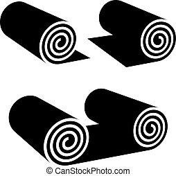 cualquier cosa, símbolo, rollo, negro