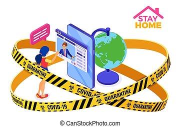 cuarentena, estancia, en línea, hogar, educación, covid-19