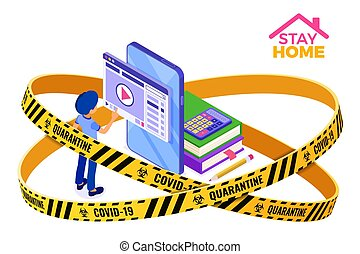 cuarentena, estancia, hogar, educación, covid-19, distancia