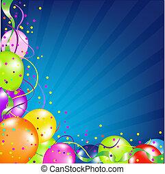 Cuartel de cumpleaños con globos y soleado