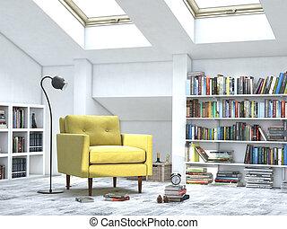 Cuarto blanco interior moderno con libros y sofá