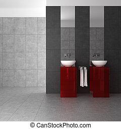 Cuarto de baño con doble palangana y muebles de vidrio