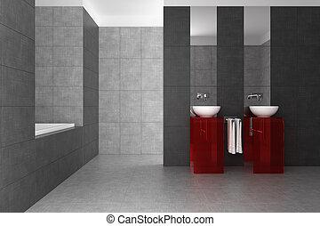 Cuarto de baño con dos baños y bañera