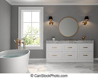 cuarto de baño, interior, clásico, 3d, estilo, interpretación