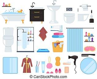 cuarto de baño, servicio, ilustración, aislado, elementos, set., vector, lavabo, diseño, caricatura, gráfico, plano