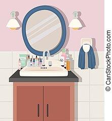 cuarto de baño, skincare, productos