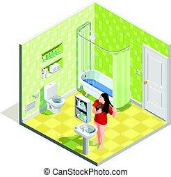 cuarto de baño, tinker, isométrico, composición