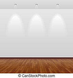 Cuarto vacío con pared blanca y madera
