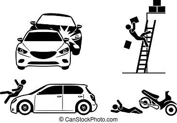 Cuatro íconos por seguro de accidentes