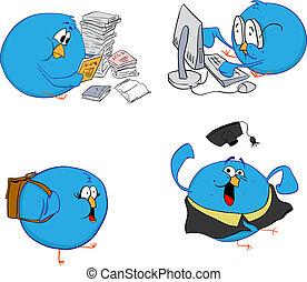 cuatro, azul, aves, aprendizaje