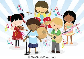 cuatro, banda, poco, niños, música