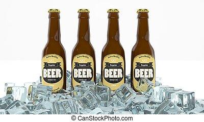 Cuatro botellas de cerveza en hielo aisladas en blanco