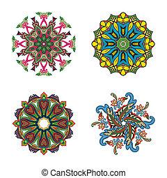 cuatro, círculo, conjunto, flor, mandalas