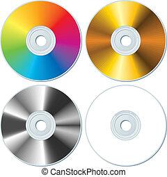 cuatro, conjunto, blanco, cds