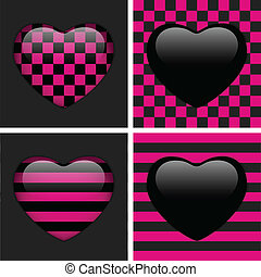 Cuatro corazones de emo. Ajedrez rosado y negro y rayas