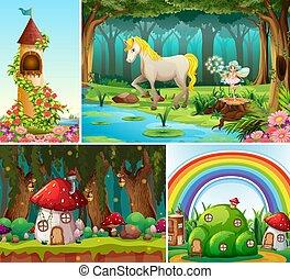 cuatro, cuento, casa, hermoso, hongo, mundo de fantasía, escena, unicornio, hadas, diferente, hada, castillo
