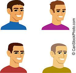 Cuatro dibujos animados masculinos
