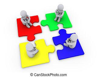 cuatro, diferente, pedazos, rompecabezas, solución