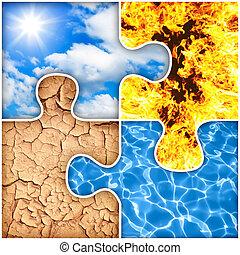 Cuatro elementos básicos del rompecabezas de la naturaleza: aire, fuego, tierra, agua