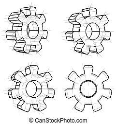 Cuatro engranajes de alambre