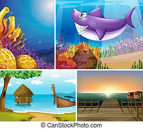 cuatro, escena, mar, creater, tropical, animales, playa, submarino, diferente
