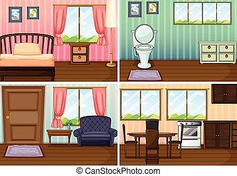 Cuatro escenas de habitaciones en la casa