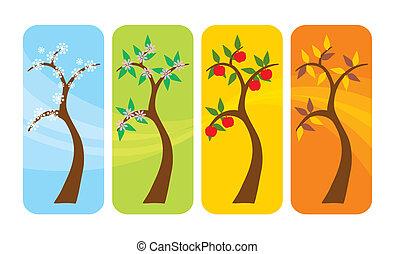 Cuatro estaciones de árbol