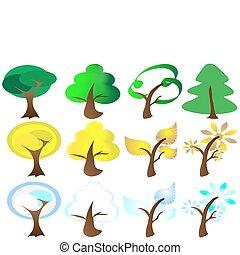 Cuatro estaciones de iconos de árboles