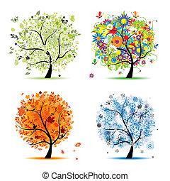Cuatro estaciones: primavera, verano, otoño, invierno. Árbol de arte hermoso para tu diseño