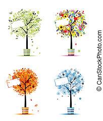 Cuatro estaciones: primavera, verano, otoño, invierno. Árboles de arte en ollas para tu diseño