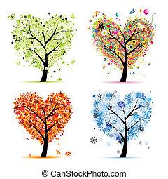 Cuatro estaciones: primavera, verano, otoño, invierno. El corazón del árbol de arte para tu diseño