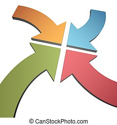 Cuatro flechas curvas de 3D convergen el centro