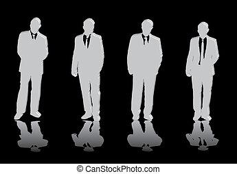 Cuatro hombres de negocios