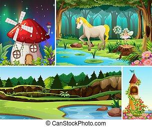cuatro, hongo, casa, mundo, fantasía, escena, caracteres, tal, unicornio, lugares, diferente