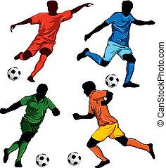 cuatro, jugadores, futbol, conjunto