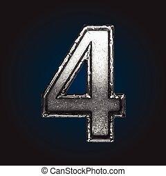 Cuatro letras de metal vectorial