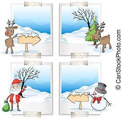Cuatro marcos con tema navideño