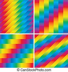 Cuatro patrones de arco iris sin mar