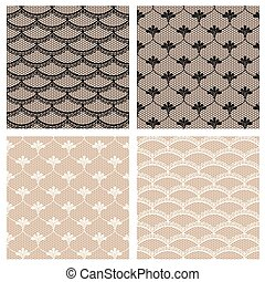 Cuatro patrones de encaje sin costura