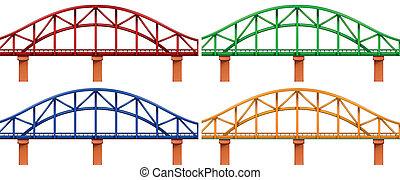 cuatro, puentes, colorido