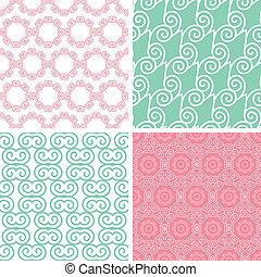 Cuatro remolinos de colores pastel, motivos sin costura