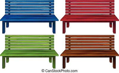 Cuatro sillas coloridas