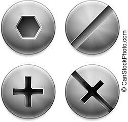Cuatro tipos de tornillos.