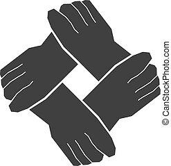 cuatro, trabajo en equipo, manos
