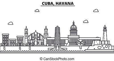 Cuba, línea de arquitectura de La Habana ilustración en el horizonte. Vector lineal Cityscape con puntos de referencia famosos, vistas de la ciudad, iconos de diseño. Landscape wtih derrames editables