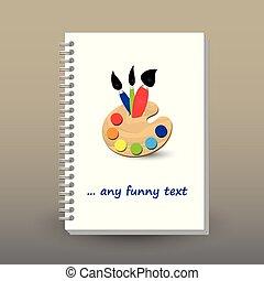 Cubierta de diario o cuaderno con carpeta de anillos en espiral - formato A5 - concepto de folleto de diseño - vibrante coloreado con paleta de pintura y tres pinceles