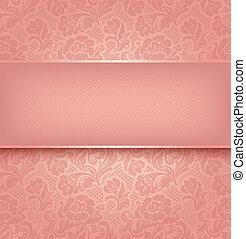 Cubierta de encaje, tela de adorno rosa. Vector 10